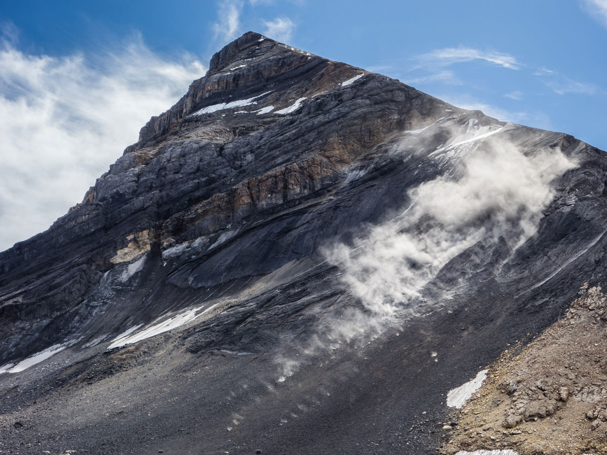 Massive rockfall near the route on Little Hector scramble in Banff National Park