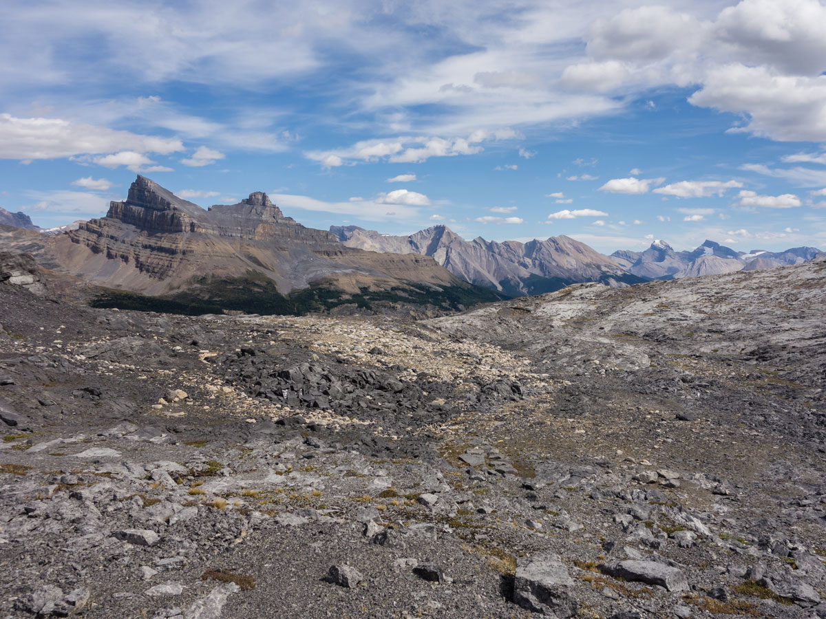 View east through Hector Pass on Little Hector scramble in Banff National Park