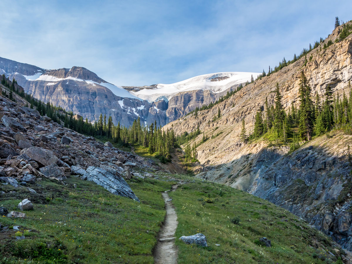 Beautiful trail towards Bow Hut on the Onion scramble in Banff National Park