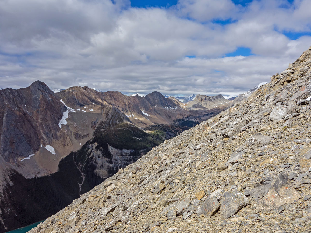 Steep ascent on Paget Peak scramble in Banff National Park