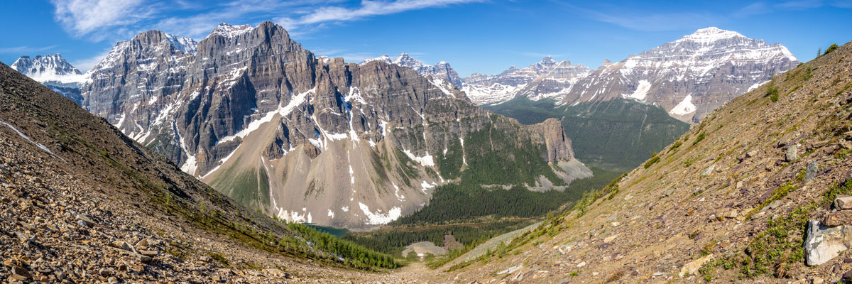 Mid gully view on Panorama Ridge scramble in Banff National Park