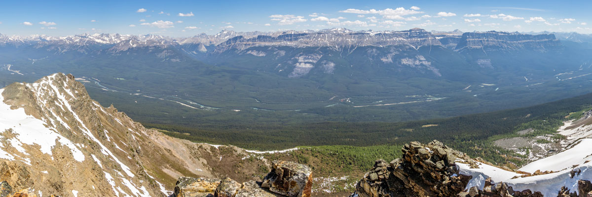 View east from the summit of Panorama Ridge scramble in Banff National Park