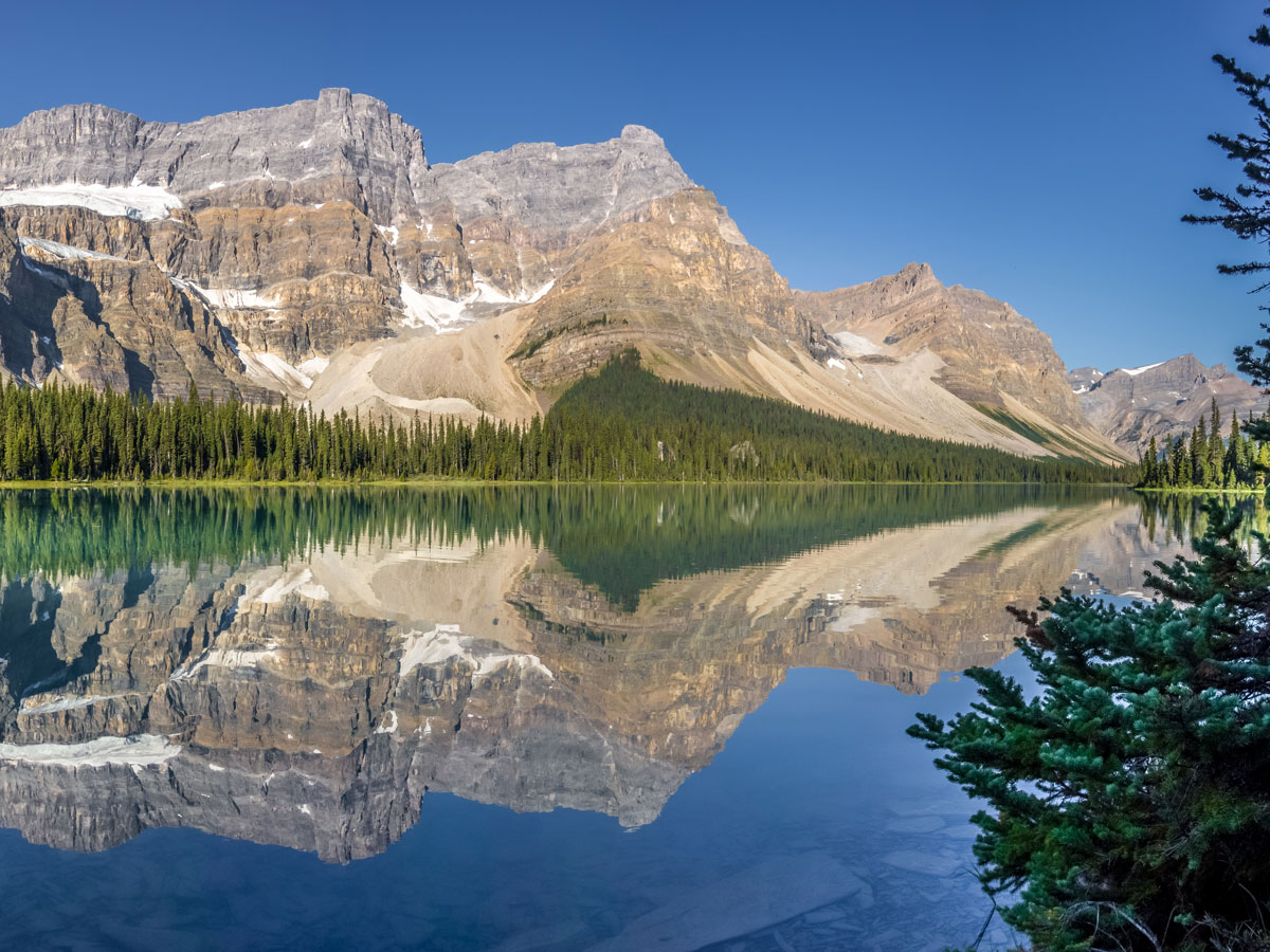 Reflections on Bow Lake on Bow Peak scramble in Banff National Park