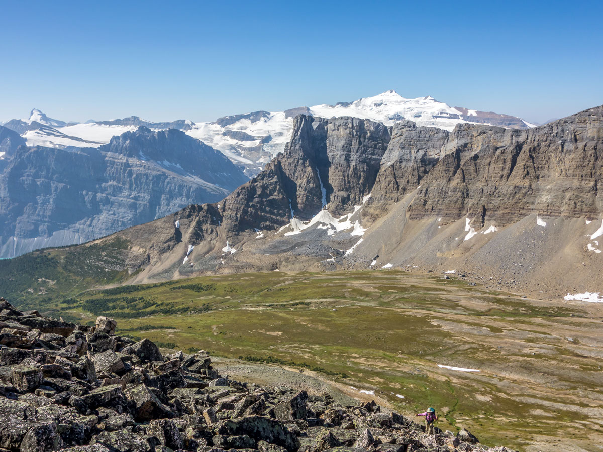 Mount Balfour across Crowfoot Pass on Bow Peak scramble in Banff National Park