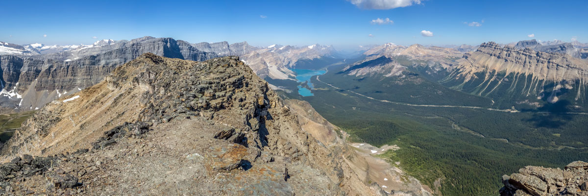 View northwest from the summit of Bow Peak scramble in Banff National Park