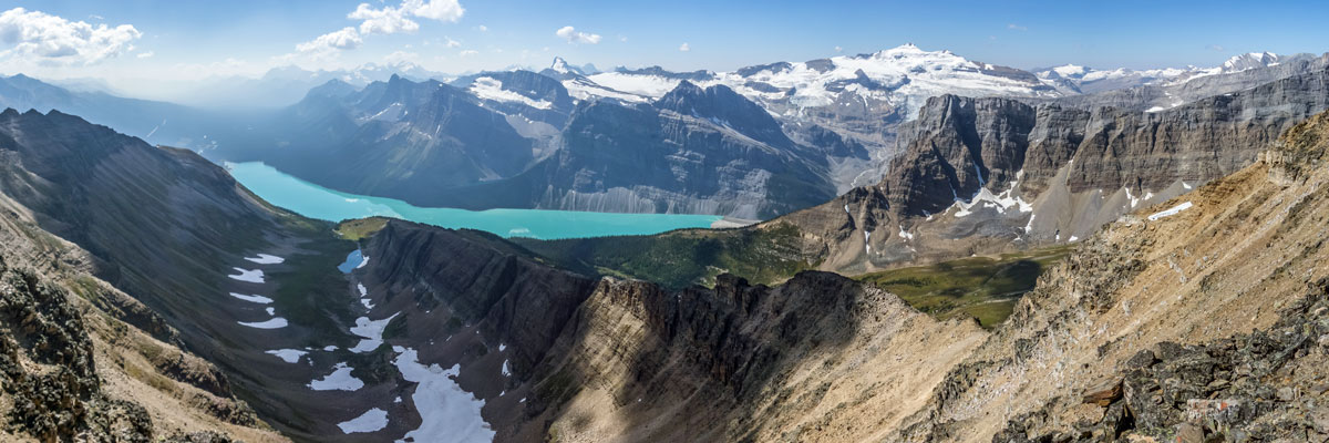 View southwest from the summit of Bow Peak scramble in Banff National Park