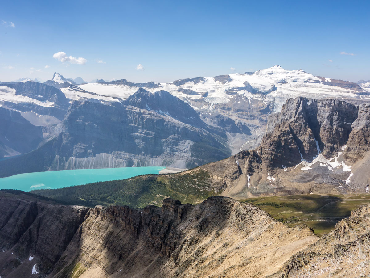 Mount Balfour with Hector Lake from Bow Peak scramble in Banff National Park