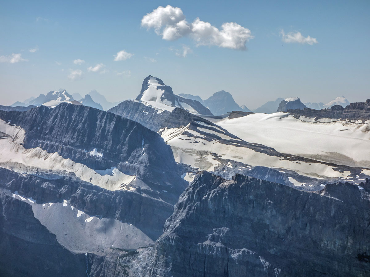 Bow Peak scramble in Banff National Park has amazing panorama overlooking mountains