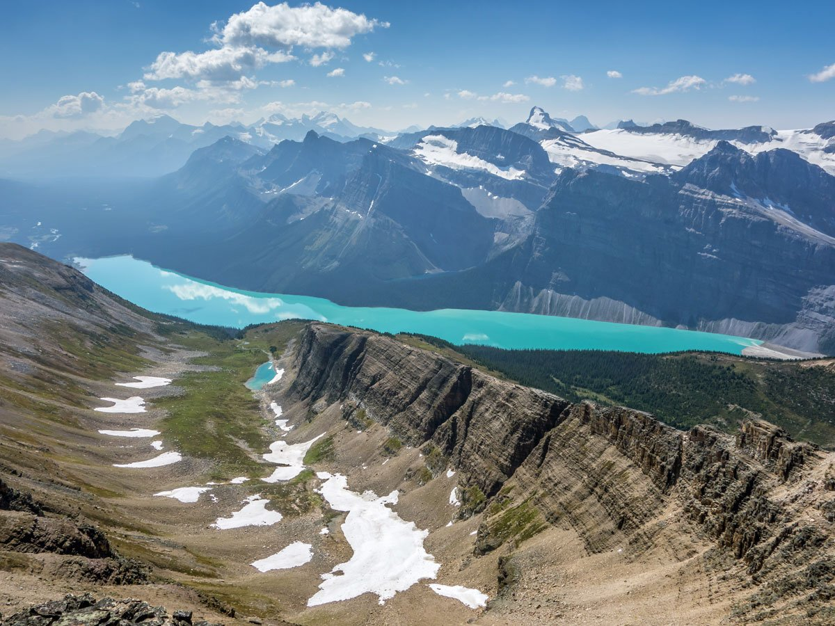 Hector Lake view from Bow Peak scramble in Banff National Park