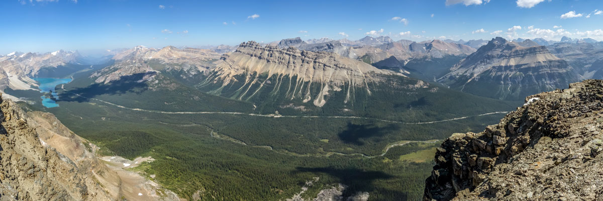View northeast from the summit on Bow Peak scramble in Banff National Park