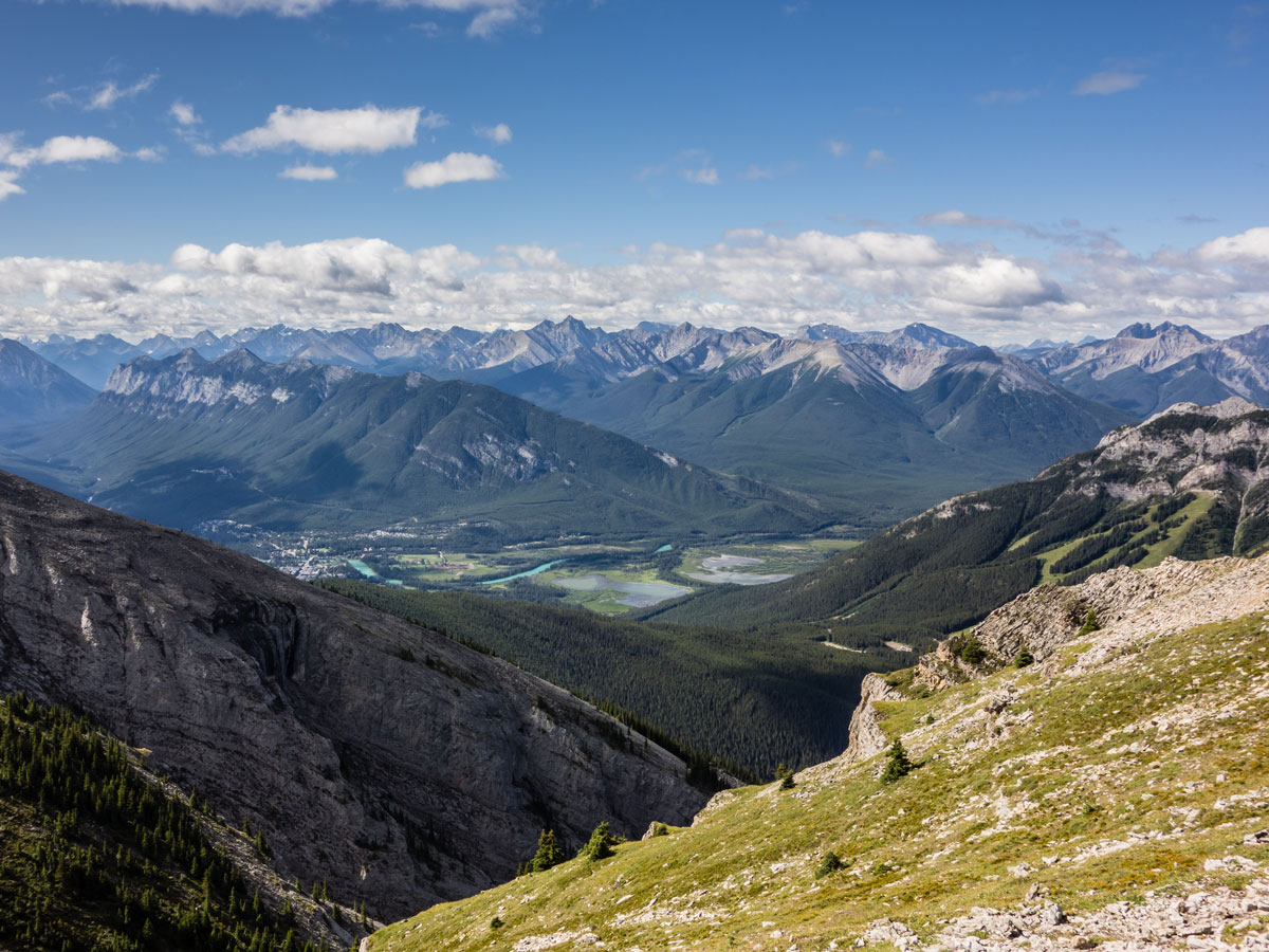 Banff in the distance from Cascade Mountain scramble in Banff National Park