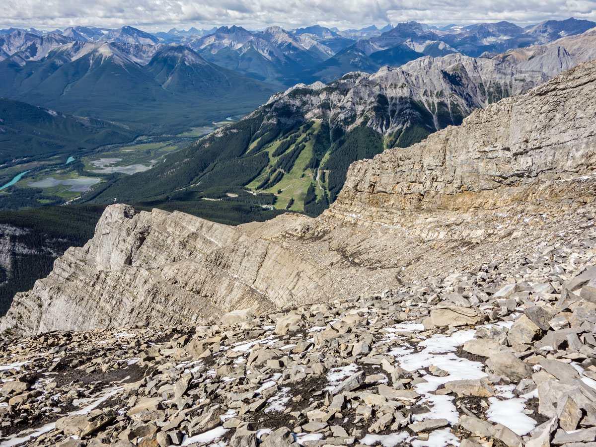 Trail view on Cascade Mountain scramble in Banff National Park