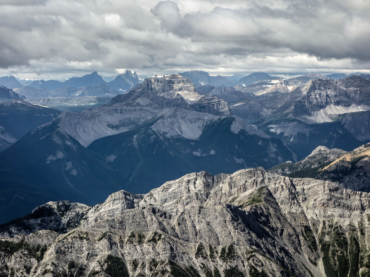 Mount Bourgeau with Mount Norquay in front on Cascade Mountain scramble in Banff National Park