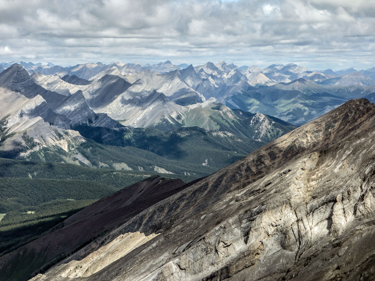 Pretty view from the summit on Cascade Mountain scramble in Banff National Park