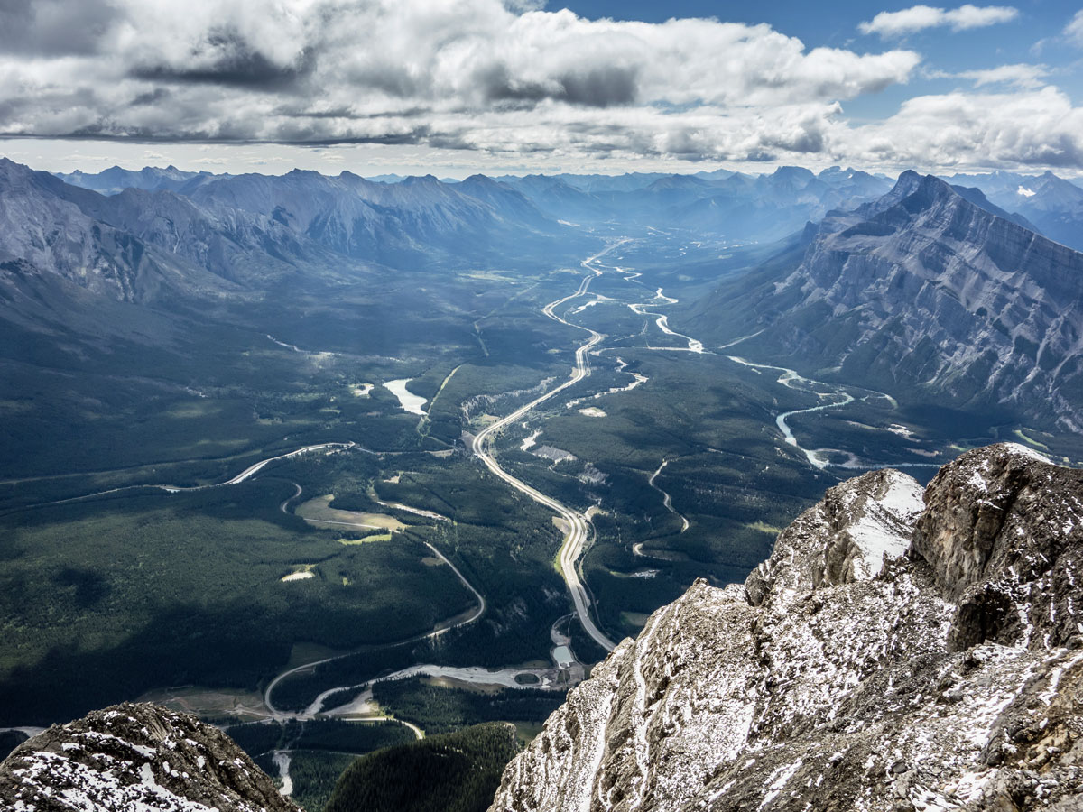 Trans Canada Highway from the above on Cascade Mountain scramble in Banff National Park