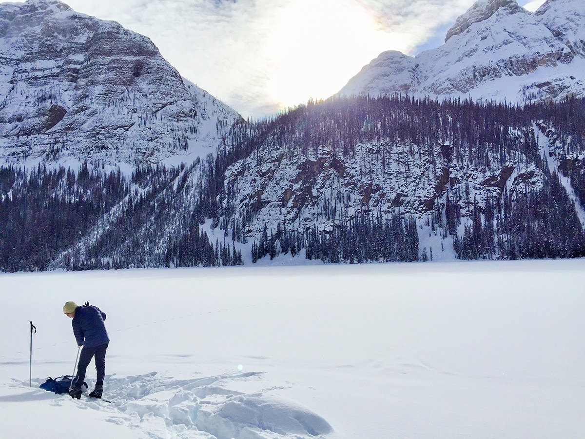 Beginning of Boom Lake snowshoe trail in Banff National Park