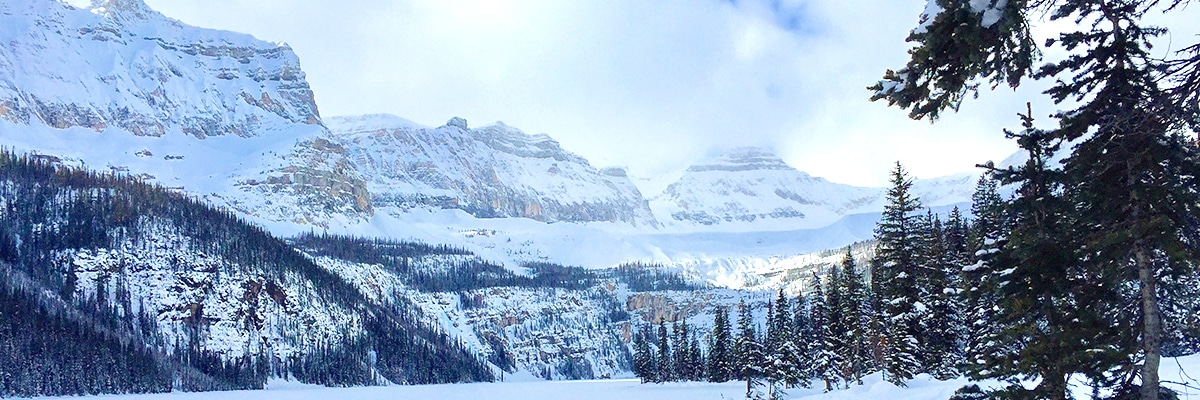Stunning views at Boom Lake snowshoe trail in Banff National Park