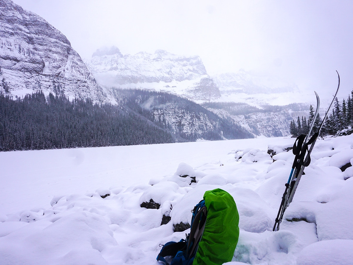 Winter around Boom Lake snowshoe trail in Banff National Park