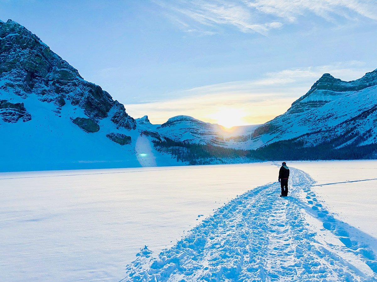 Path on Bow Lake snowshoe trail in Banff National Park