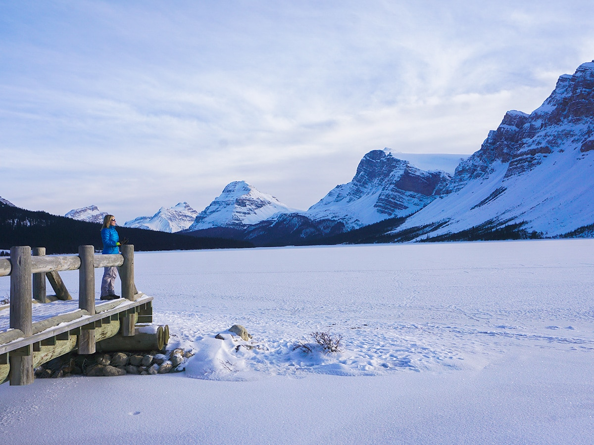 Stunning views from Bow Lake snowshoe trail in Banff National Park