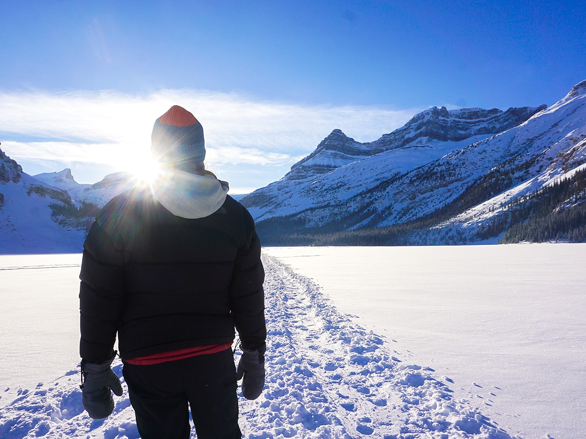 Winter views on Bow Lake snowshoe trail in Banff National Park