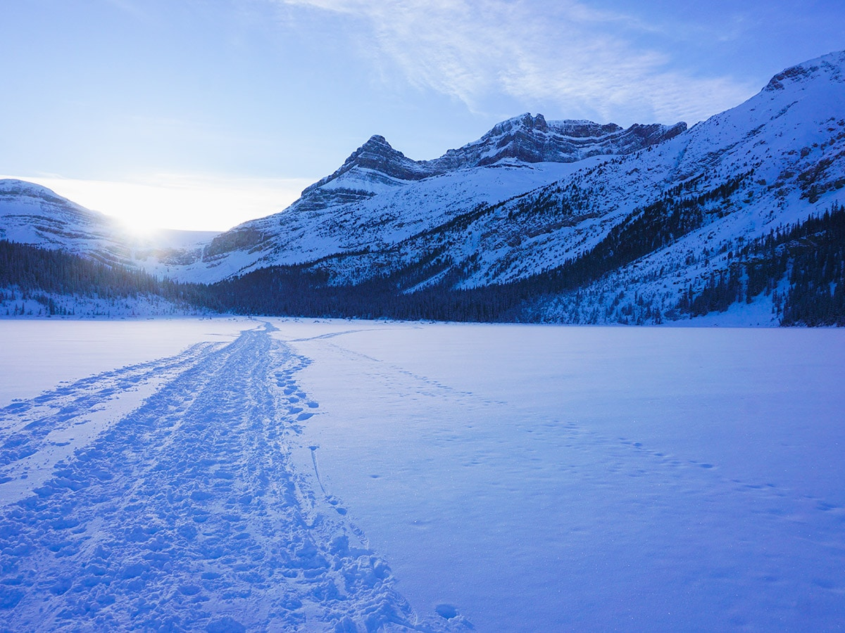 Beautiful scenery on Bow Lake snowshoe trail in Banff National Park