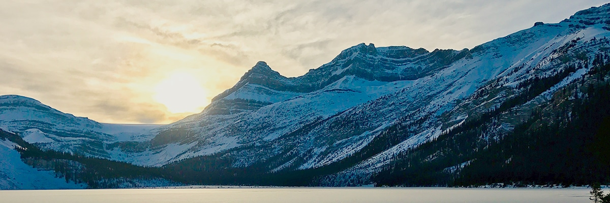 Snowy peaks around Bow Lake snowshoe trail in Banff National Park