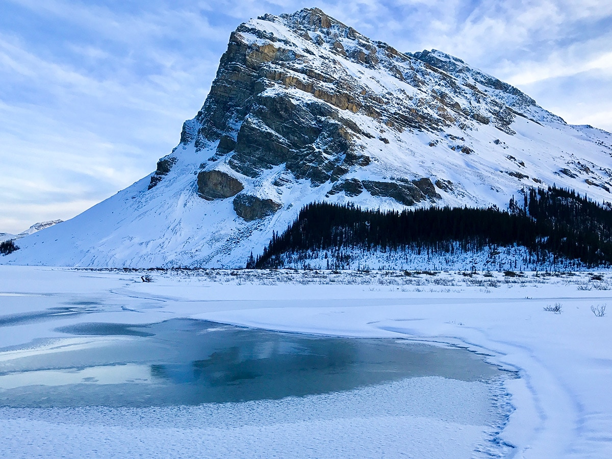 Peak on Bow Lake snowshoe trail in Banff National Park