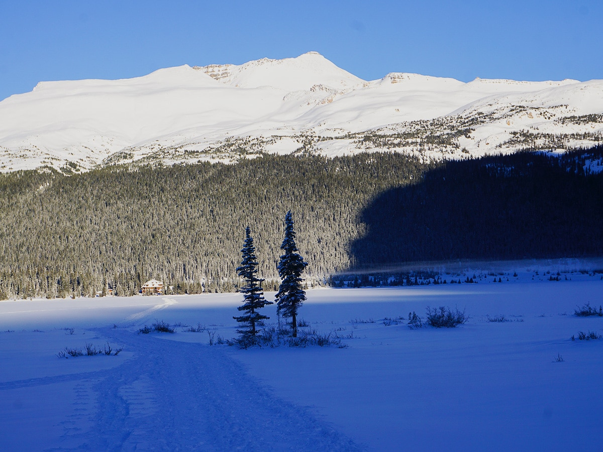 Bow Lake and Num-Ti-Jah Lodge on Bow Lake snowshoe trail in Banff National Park