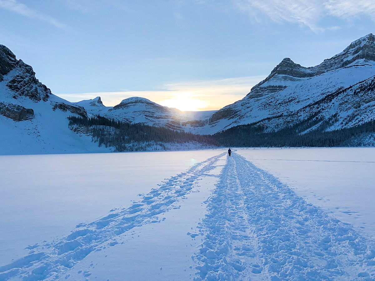 Views from Bow Lake snowshoe trail in Banff National Park