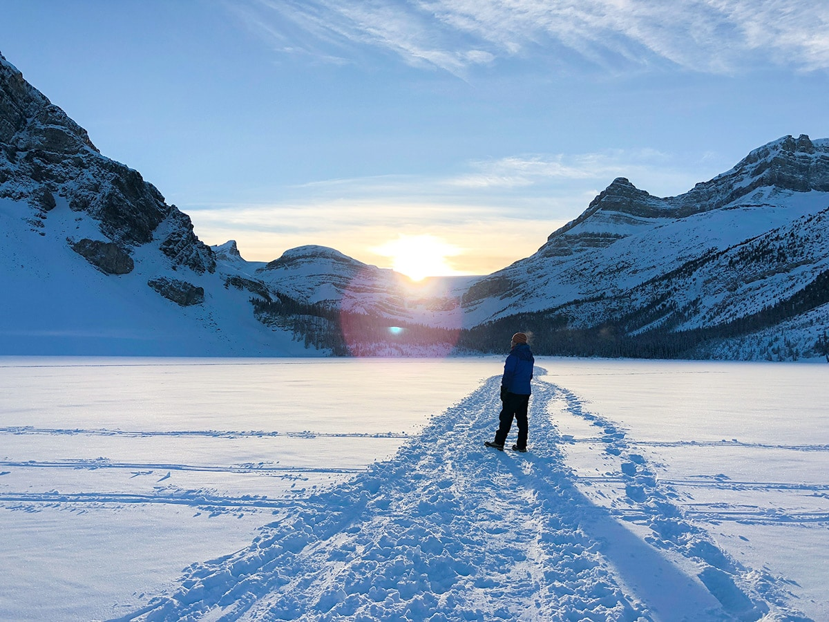 Sunset on Bow Lake snowshoe trail in Banff National Park