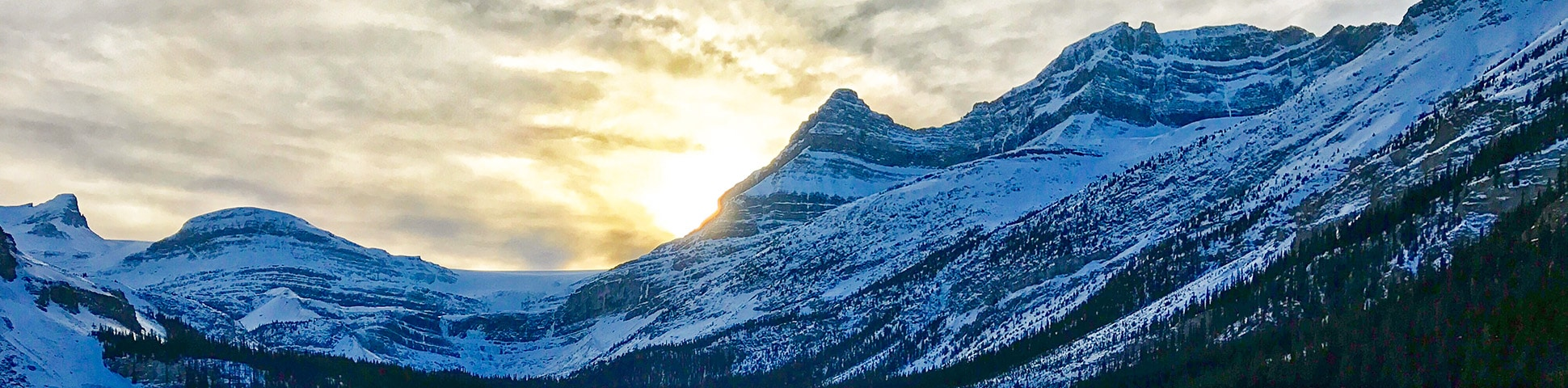 Panorama on Bow Lake snowshoe trail in Banff National Park