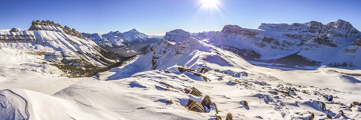 View south from Crystal Ridge snowshoe trail Banff National Park