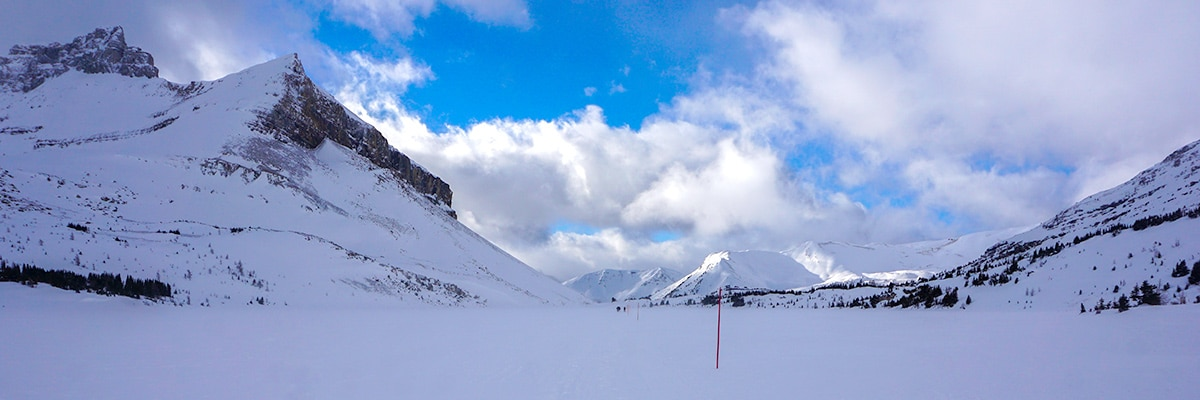 Snowshoeing from Lake Louise to Deception pass in Banff National Park