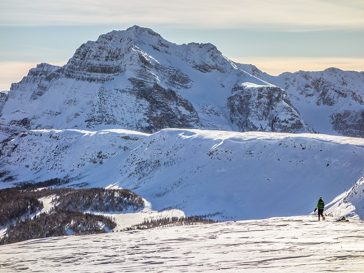 Beautiful route of the Healy Pass snowshoe trail Banff National Park