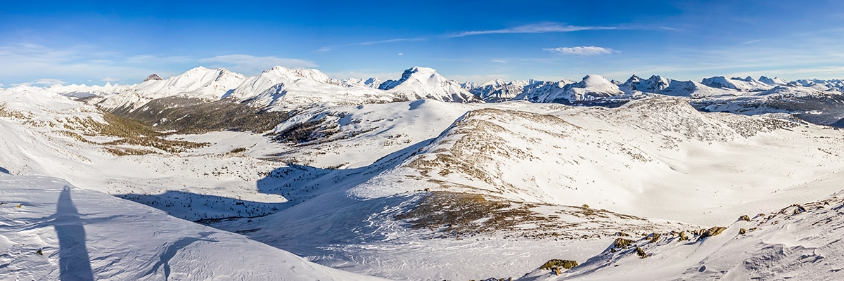 View east from the peak on Healy Pass snowshoe trail Banff National Park