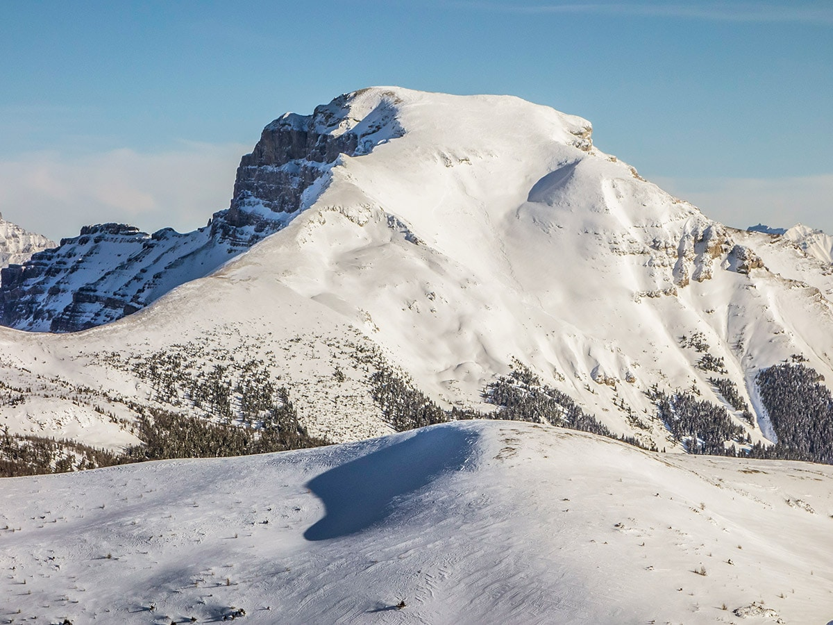 Mount Bourgeau view from Healy Pass snowshoe trail Banff National Park