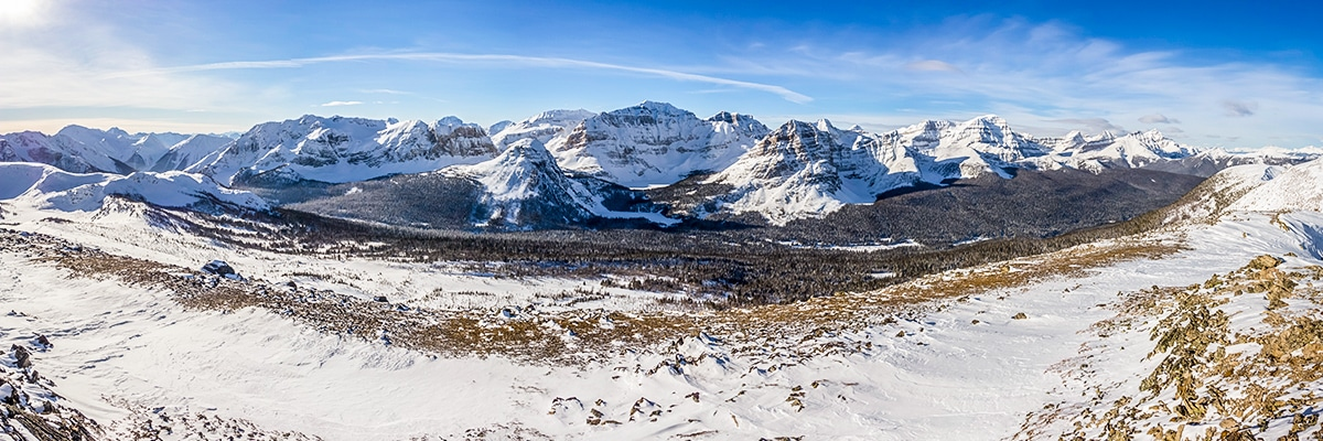 Views from the Healy Pass snowshoe trail Banff National Park