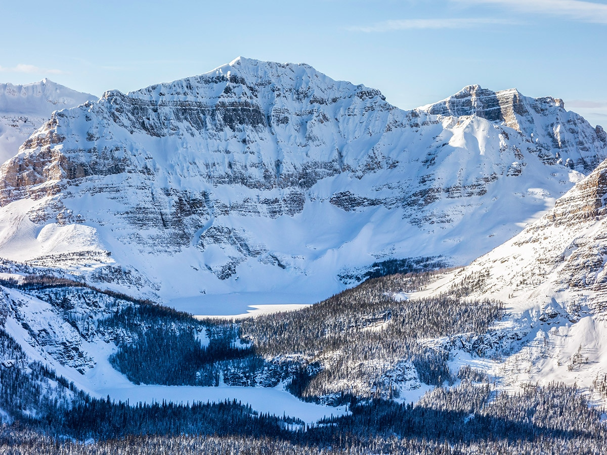Egypt and Scarab Lakes from Healy Pass snowshoe trail Banff National Park