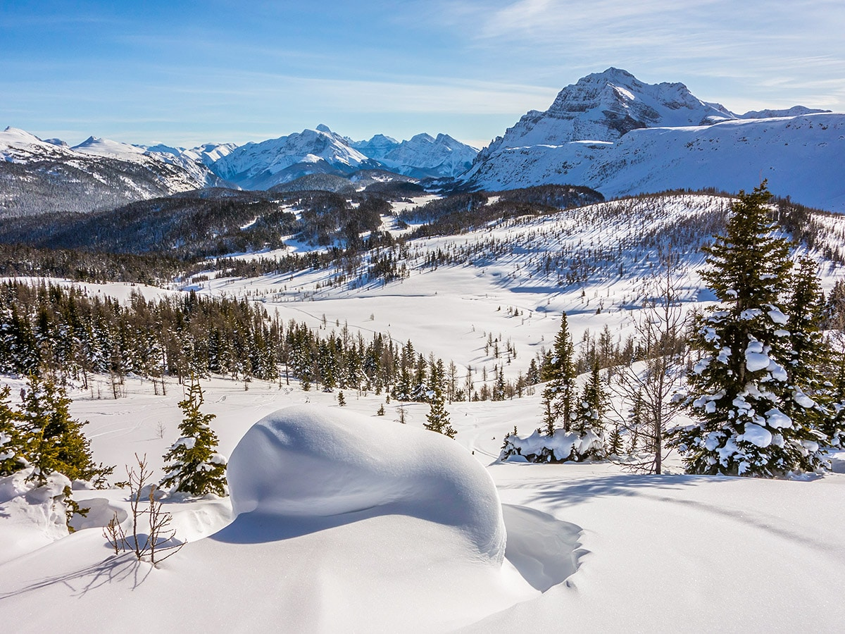 Stunning views from Healy Pass snowshoe trail Banff National Park