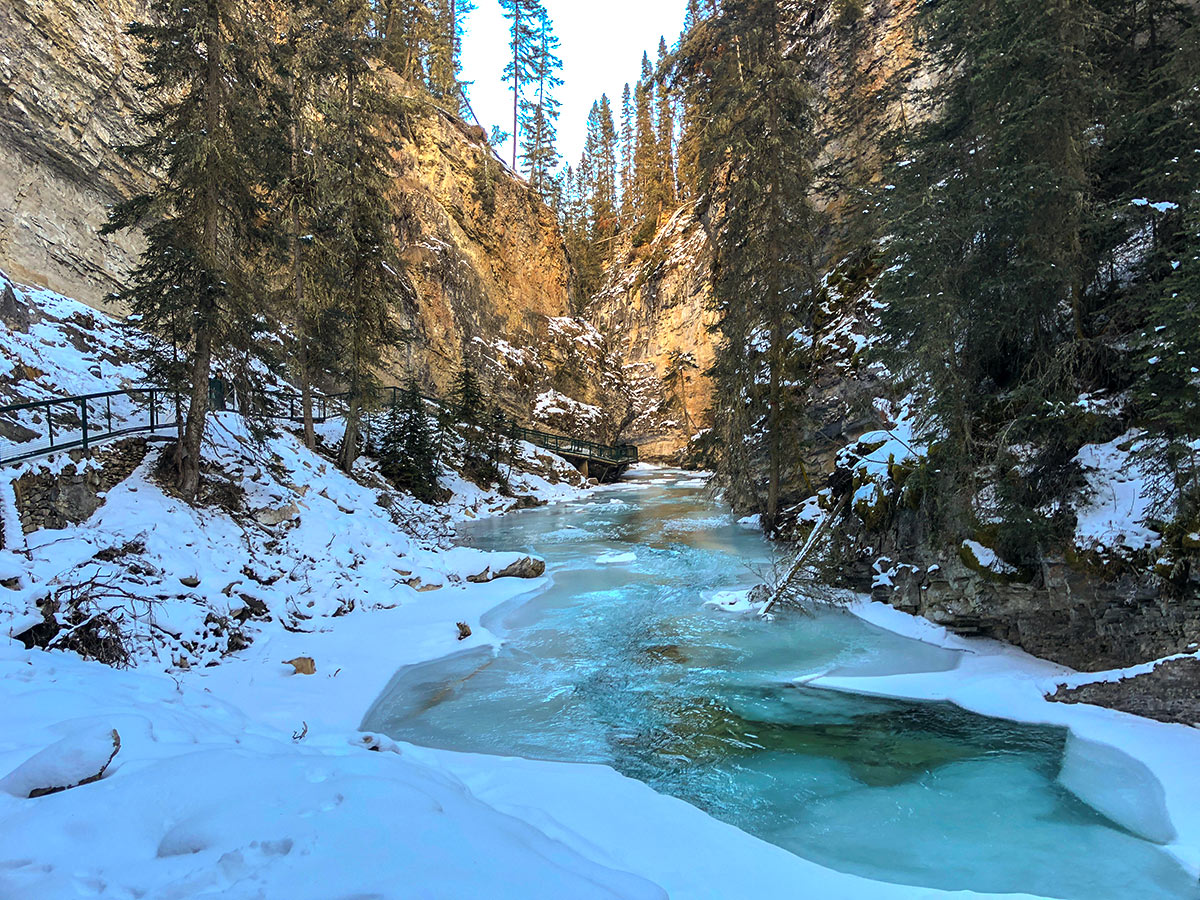 Beginning of Johnston Canyon snowshoe trail in Banff National Park