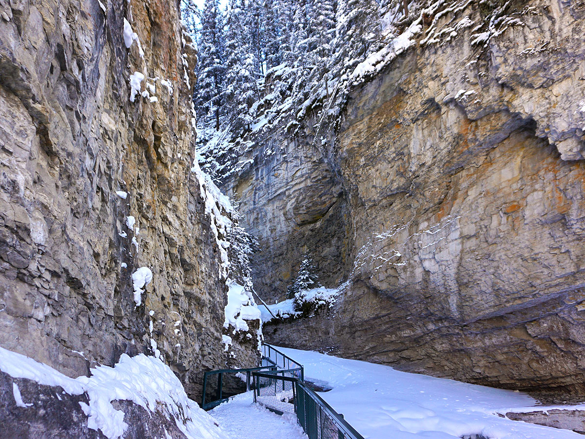 Metal Trail covered in ice on Johnston Canyon snowshoe trail in Banff National Park