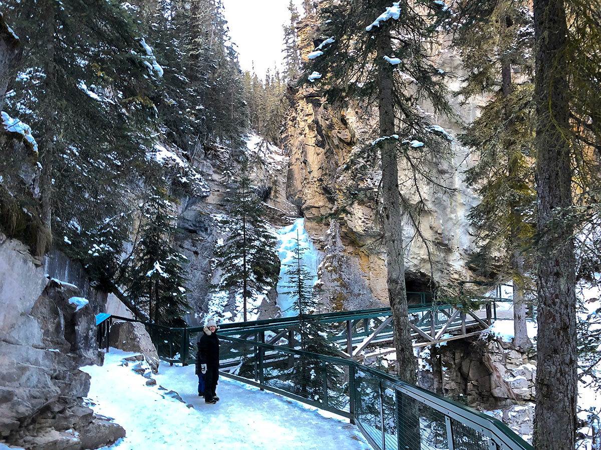 Lower Falls on Johnston Canyon snowshoe trail in Banff National Park