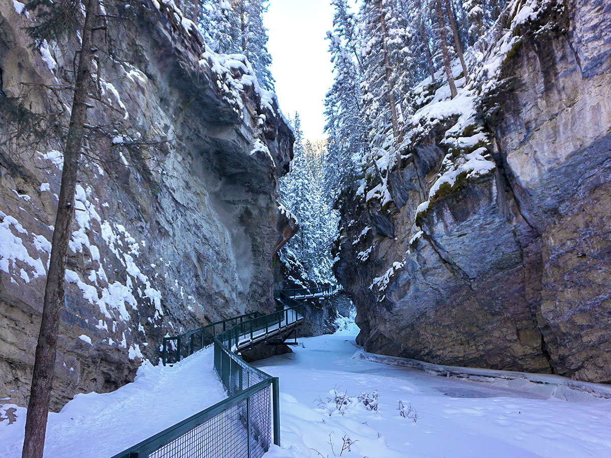 Winter walking on Johnston Canyon snowshoe trail in Banff National Park