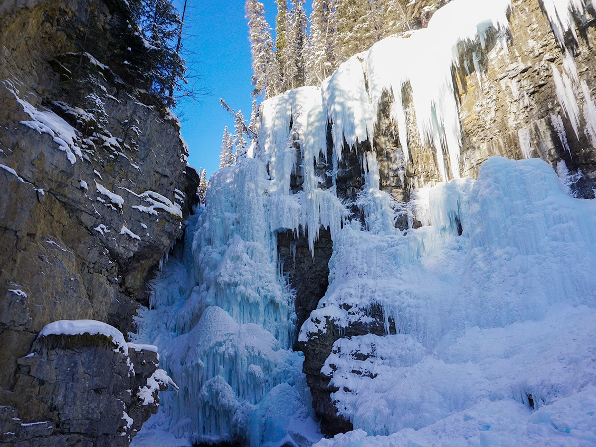 Upper Falls on Johnston Canyon snowshoe trail in Banff National Park