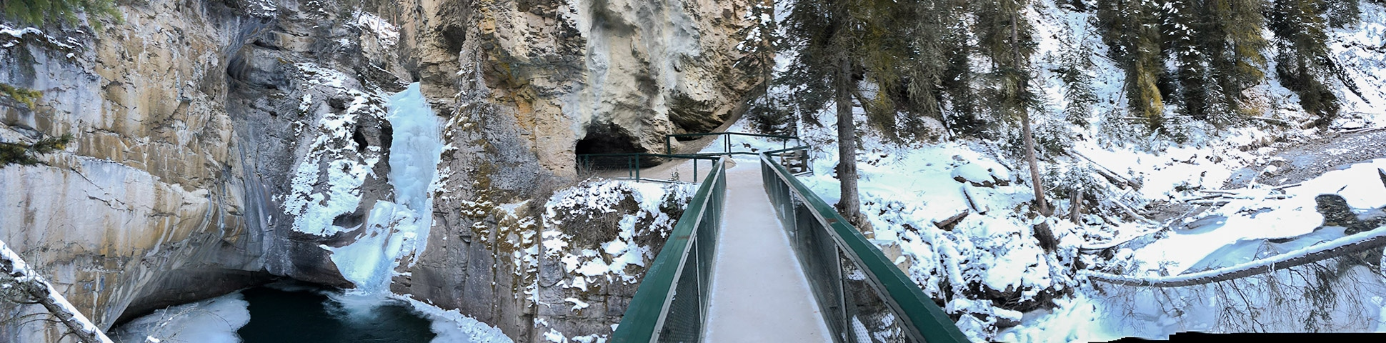 Panorama from Johnston Canyon snowshoe trail in Banff National Park