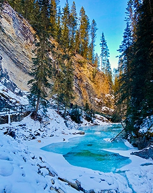 Johnston Canyon snowshoe trail in Banff National Park