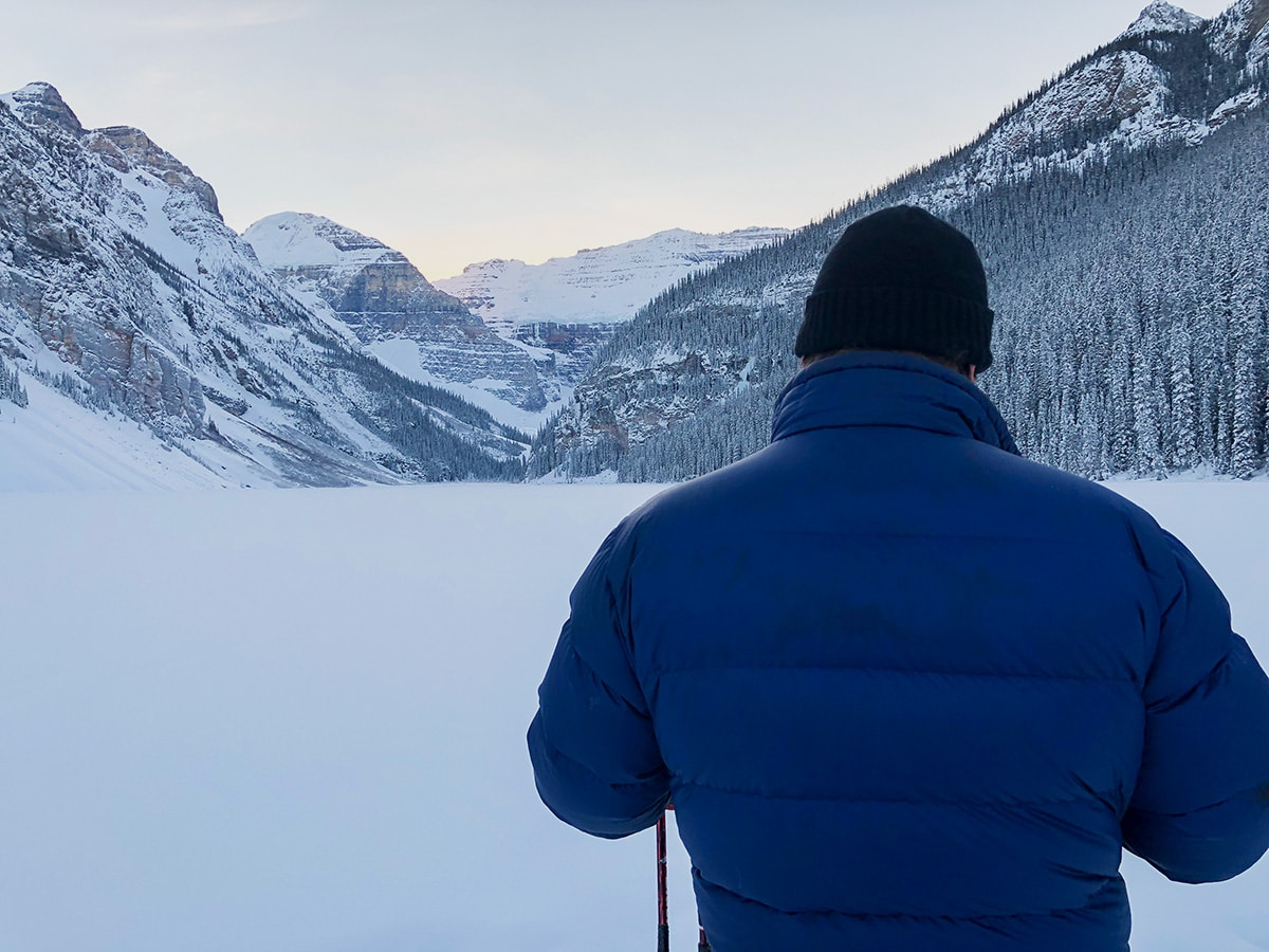 Views on Lake Louise snowshoe trail in Banff National Park