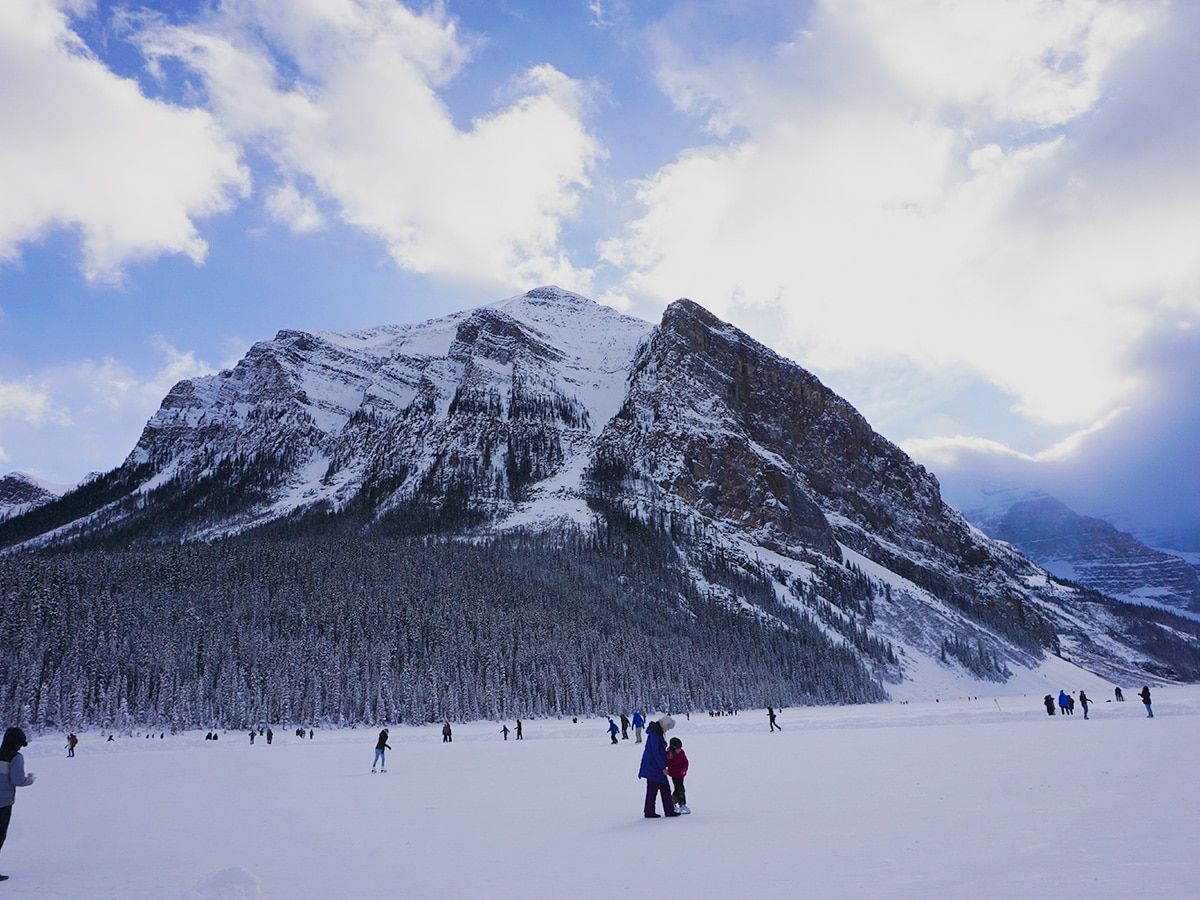 Fairview from Lake Louise snowshoe trail in Banff National Park
