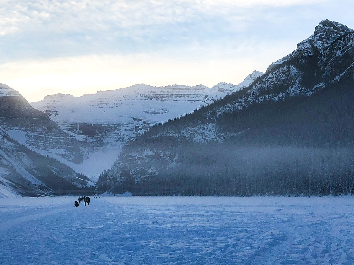Winter on Lake Louise snowshoe trail in Banff National Park